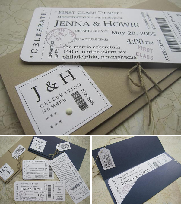 Wedding Philippines - Boarding Pass Wedding Invitation by Jenna B Designs