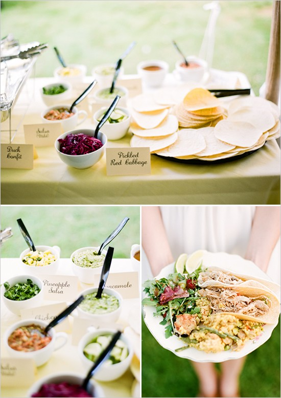 Gourmet Taco Bar Photo by Ryan Bernal via Wedding Chicks